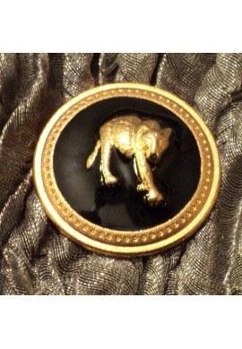 Bouton métal noir avec léopard doré 25mm