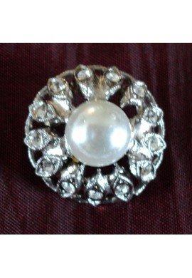 Bouton strass avec coeur perle imitation 18mm