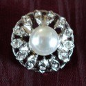 Button Strass metal with imitation perle 15mm