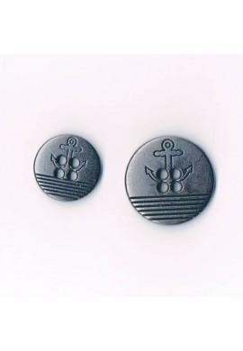 Button metal navy style with anchor 15mm/20mm old silver