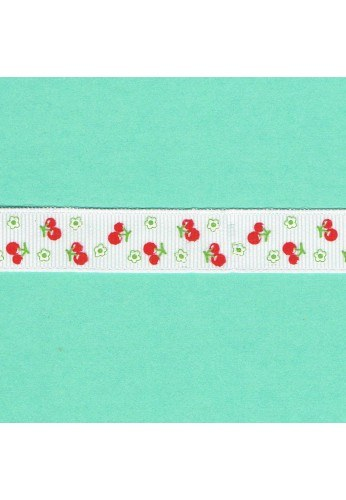 Satin Ribbon with print 15mm The cherries
