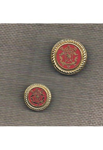Coat of Arms button 20/15mm, metal gold with red