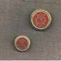 Bouton métal doré-rouge 20/15mm avec blason