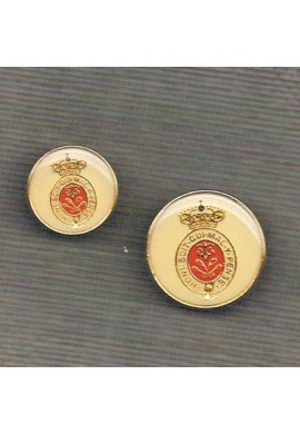 Coat of Arms button 15/20mm, metal, gold with red print on off-white base