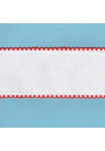 Aida embroidery braid, 7,5cm, 1 meter, red finish