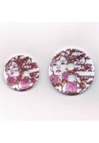 Decorative button 35mm/45mm, The lady in pink