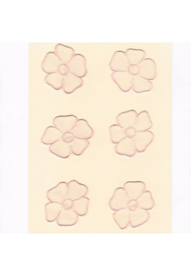Lace patches flowers 6 pieces to sew-on pink