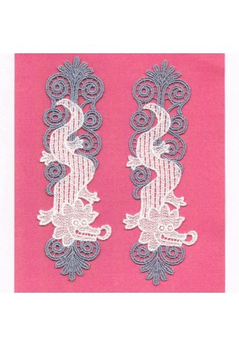 "Lace patches 2 pieces to sew-on ""the crocodiles"""