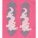 """Lace patches 2 pieces to sew-on """"the crocodiles"""""""