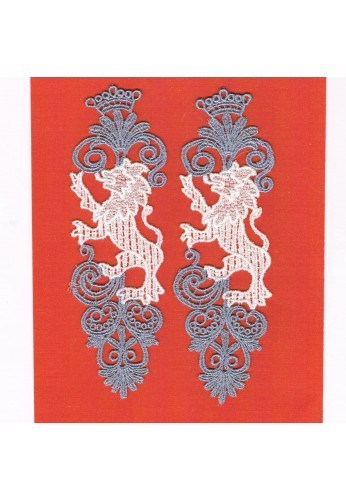 Lace patches 2 pieces to sew-on the lions