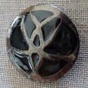 Coat Button silver black metal 40mm