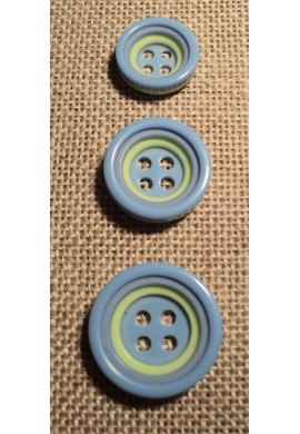 Button 4 holes light blue 12/15/18mm 4-trous