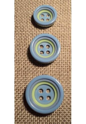 Button 4 holes light blue 12/15/18mm 4-trous