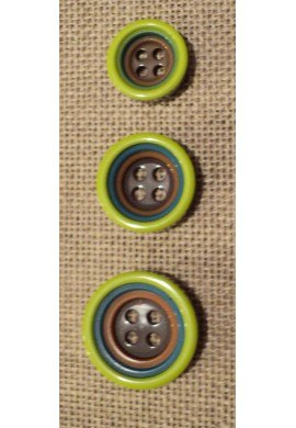 Button 4 holes olive green 12/15/18mm 4-trous