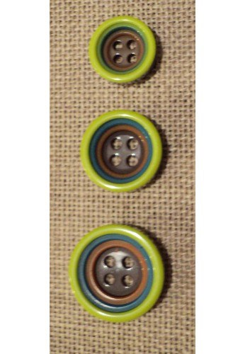 Bouton vert anis 12/15/18mm 4-trous