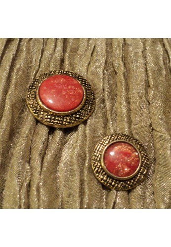 Coat button 15/20mm, metal gold with orange