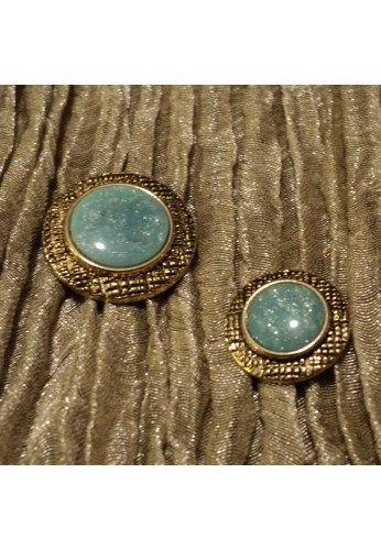 Coat button 15/20mm, metal gold with green emerald