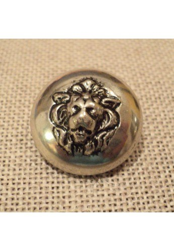 Button metal 20mm with lion motif silver colour