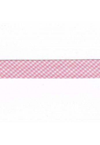Ruban Biais Vichy mini 20mm rose carreaux