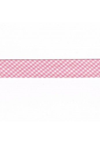 Vichy mini Woven Bias binding 20mm pink