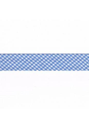 Vichy mini Woven Bias binding 20mm light blue