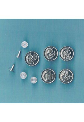 Jeans Snap on buttons 16mm silver (5 pieces) with Anchor