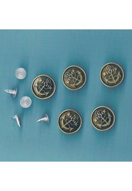 Jeans Snap on buttons 16mm bronze (5 pieces) with Anchor
