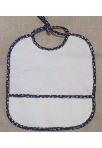 Baby Bib to cross stitch, Anchor navy-blue, Coton toweling