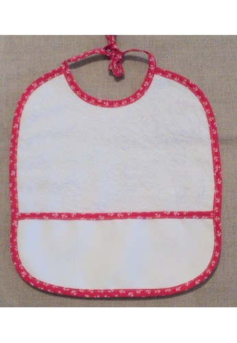 Baby Bib to cross stitch, Anchor red, Coton toweling