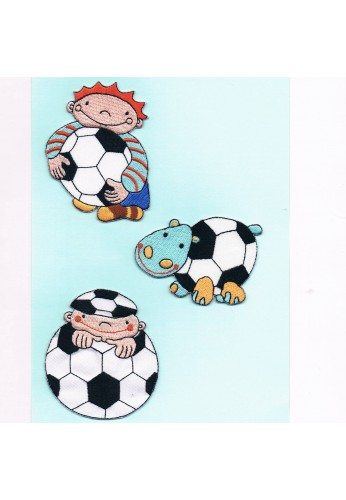 Patches Iron-on 3 pieces soccer and hippopotamus