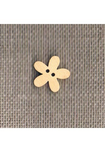 Bouton en bois naturel 14mm, fleur