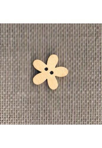 Wooden button naturel 14mm, flower