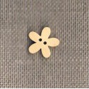 Wooden button naturel 14mm, flower