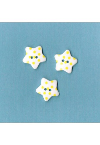 White button star with yellow dots, 17mm