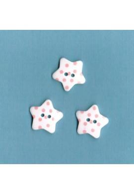 Bouton étoile blanc avec des points rose clair, 17mm