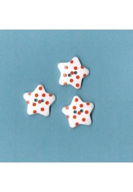 Bouton étoile blanc avec des points rouge, 17mm