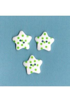 Bouton étoile blanc avec des points vert, 17mm