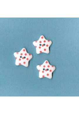 Bouton étoile blanc avec des points fuchsia, 17mm