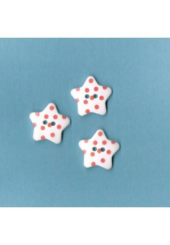 White button star with fuchsia dots, 17mm