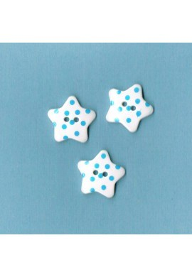 White button star with turquoise dots, 17mm