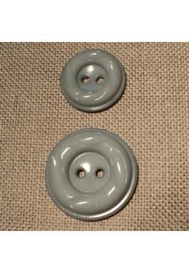 Bouton manteau gris 23mm/30mm 2-trou