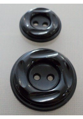 Coat Button black 23m/30mm 2-holes