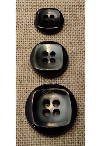 Bouton noir 15mm/18mm/23mm 4-trous