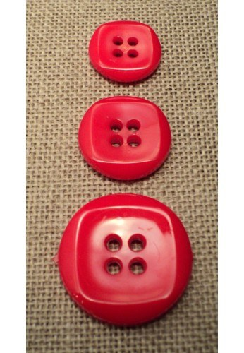 Button red 15mm/18mm/23mm 4-holes