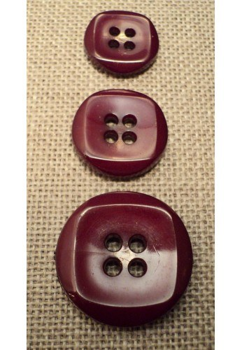 Button burgundy 15mm/18mm/23mm 4-holes