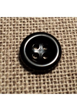 Bouton noir 11mm 4-trous Bouton Bébé, chemise, button down