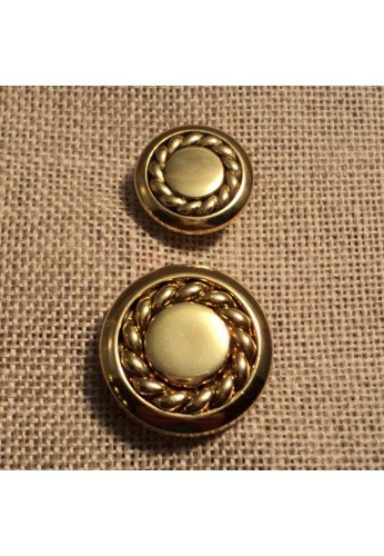 Button, gold with decorative chain 15mm/20mm