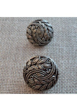 Button silver baroque 18mm/20mm with leaf design