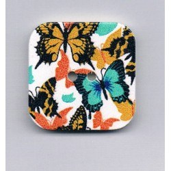 Decorative button, 32x32mm, butterflies