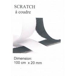 Scratch à coudre 1 mètre BLANC 20mm